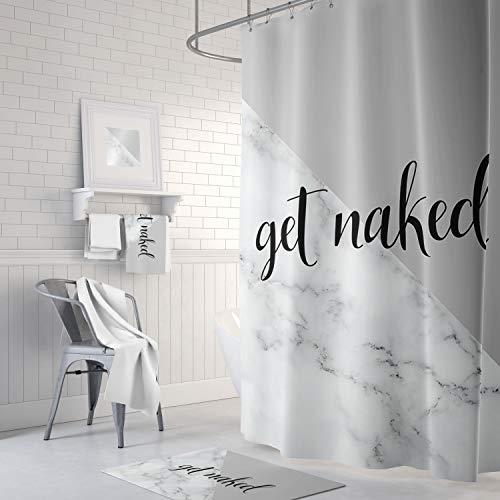 Mike21Browne Duschvorhang Get Naked Quote Grau & Kunstmarmor