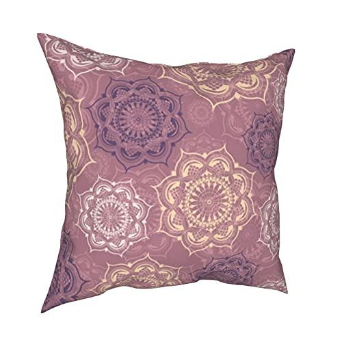 Mystic Mandala Sweet Roses - Fundas de almohada personalizadas, fundas de almohada para sofá, dormitorio, coche, accesorios para el hogar, 50 x 50 cm