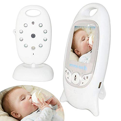 lesgos babyphones mit Kamera, kabelloser digitaler Babyphone mit Nachtsichtkamera, Zweiwege-Talkback, Temperaturüberwachung, Schlaflieder, 2,0-Zoll-LCD-Monitor für Säuglingskameras (American Plug)