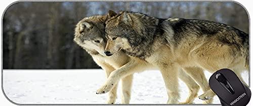 Desk Pad Keyboard Pad,Wildlife Predator Winter Animal Wolf Non-Slip Rubber Base Mousepad