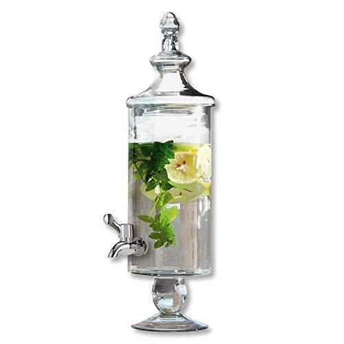 Loberon Lerrain, drankdispenser, glas/metalen tapkraan, hoogte x diameter ca. 55/16 cm, transparant.