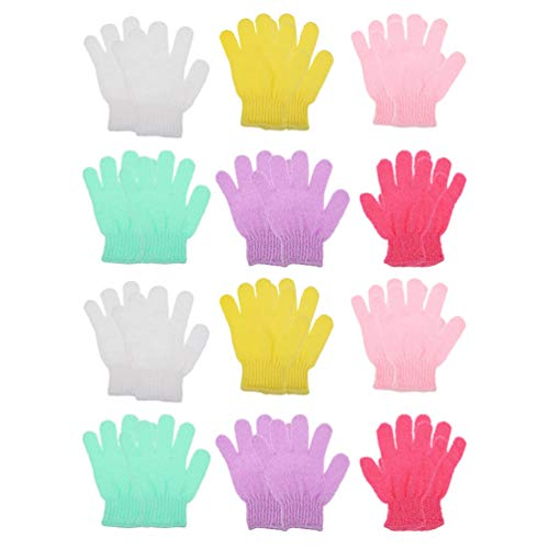PIXNOR 12 Pairs Double Sided Exfoliating Gloves Body Scrubber Bath Mitts Cleaning Scrubs for Shower Body Spa Massage Dead Skin Cell Remover (Mixed Color)