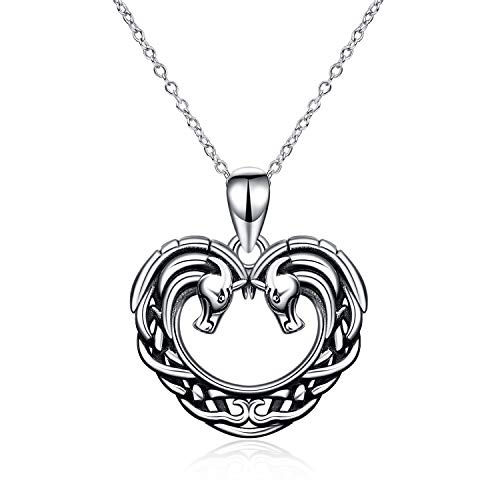 ONEFINITY Horse Necklace Sterling Silver Irish Celtic Knot Horse Heart Pendant Good Luck Horse Gifts Jewelry for Women Girls