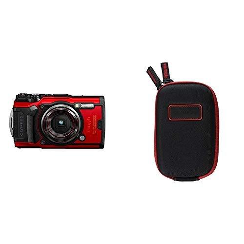 Olympus Tough TG-6 Waterproof Camera, Red w/ Olympus CSCH-107 Hard Case