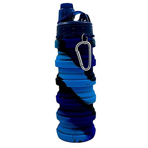 Wamsatto Botella de Agua de Silicona Plegable Botella Portátil Plegable Botella Plegable de 500 ml para Senderismo Fitness Camping Viajes Deportes al Aire Libre