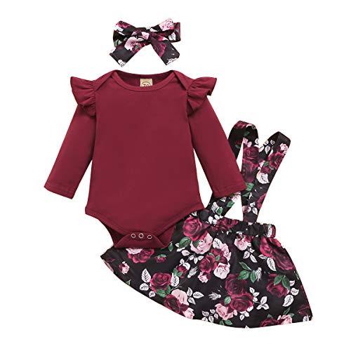 Vestido con Tirantes para Bebés Pequeños Mameluco de Manga Larga con Diadema de Bowknot 3 Piezas