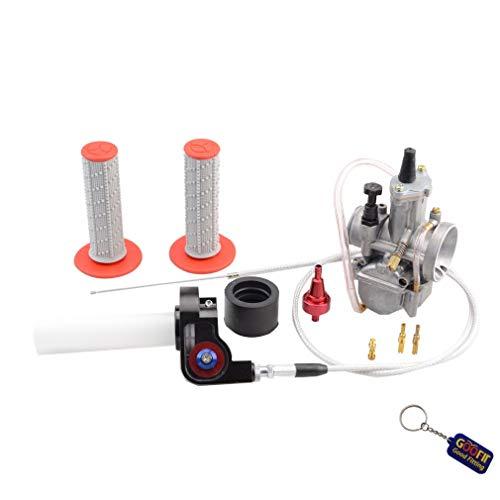 GOOFIT 28mm Visible Carburador Twister Cable Manijas PWK Tuning Power Jet Caja de bomba de aceleración 125cc 150cc ATV reemplazo para Red