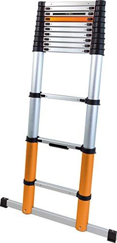 Batavia 7062759 COS234502 Telescopische 3.90m Ladder met stabilisatorstang, Zilver/Oranje/Zwart