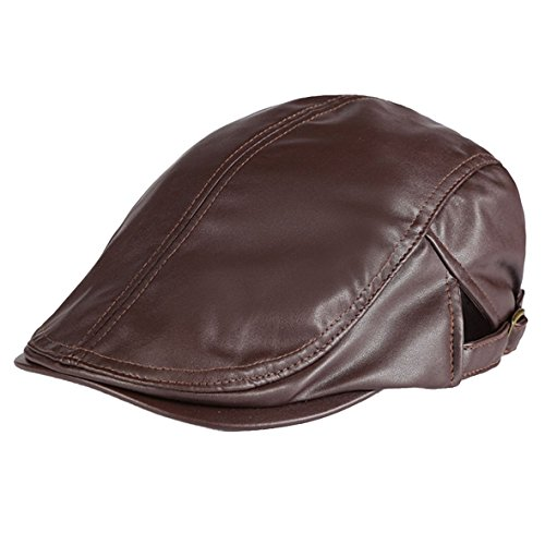 Panegy - Sombrero Gorro de Visera de PU para Hombre Mujer Casual Gorro Color Sólido Unisex Boina del Vendedor de Periódicos - Marrón
