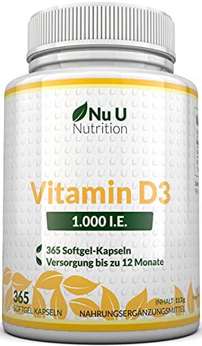 Vitamin D3 1.000 I.E. hochdosiert   für Knochen, Zähne & Immunsystem   Jahresversorgung   100% Geld-zurück-Garantie   365 Softgel-Kapseln   Nahrungsergänzungsmittel von Nu U Nutrition