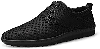 XUJW-Shoes, Athletic Shoes for Men Sports Shoes Lace Up Style Mesh Material Hollow Elastic Outdoor Casual Lightweight Durable Comfortable Walking Shopping (Color : Black, Size : 5.5 UK)