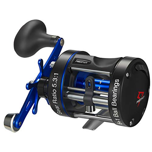Piscifun Chaos XS Baitcasting Reel Round Reel Reinforced Metal Body Conventional Reels for Catfish, Musky, Bass, Pike, Saltwater Inshore Surf Fishing Reels (50 Right Handed)