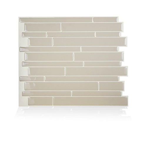 Piastrella adesiva da parete, in Gel-O, tecnologia brevettata, 29 x 24 cm, modello Milano, colore crema