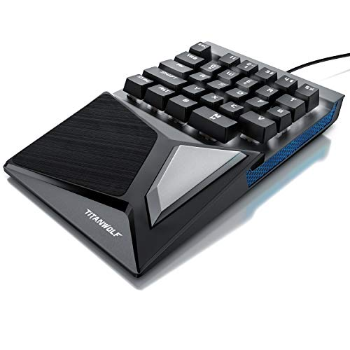CSL-Computer Titanwolf - mechanische Tastatur Keypad 28 Tasten - Einhandtastatur - Mechanical Keyboard mit Multimedia-Keys - One Handed Gaming Keypad - ergonomische Handballenauflage - Anti Ghosting