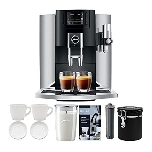 Jura 15271 E8 Smart Espresso Coffee Machine (Chrome) Bundle with Milk Container, Bean Container, Descaler, Filter and 2 Cups (7 Items)