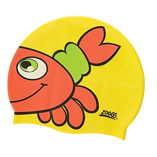 Zoggs Kids Silicone Character Swimming Cap Yellow Crab Junior