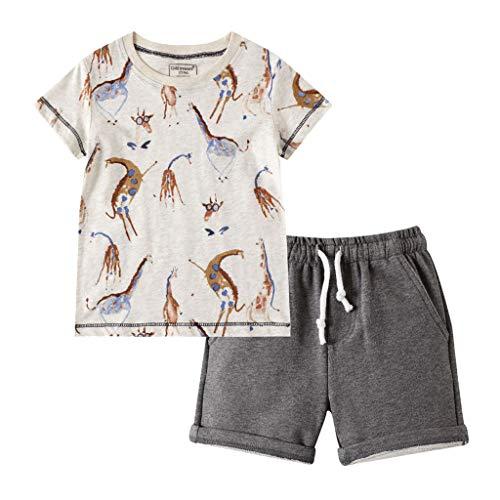 Realde Baby Kleinkind Baby T-Shirt +Hosen Jungen Mädchen Druckten O-Ausschnitt Tops Oberteile Summer Einfarbig Kurz Hose Schlafanzug Outfit Kleider Babykleidung Set