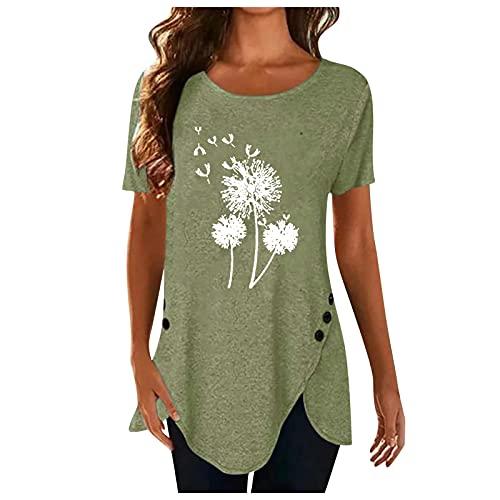 XOXSION Camiseta de verano para mujer, parte superior de diente de león, camiseta irregular con botones, camisa de manga corta, cuello redondo, túnica para mujer B verde. L