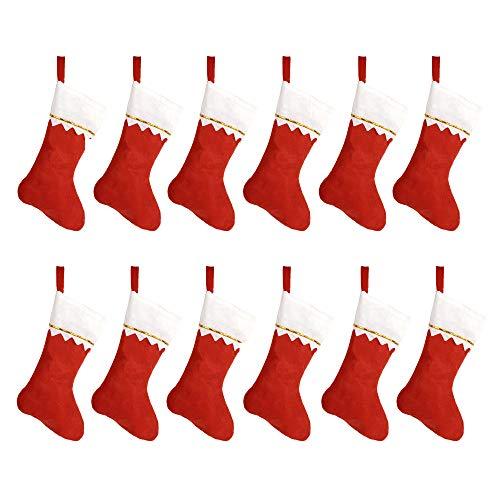 HOOPE 12 Pcs Christmas Stockings 15' Xmas Fireplace Socks Candy Gift Bag Santa Christmas Tree Hanging Decoration,Classic Red and White, DIY Allowed Basic Felt Stockings