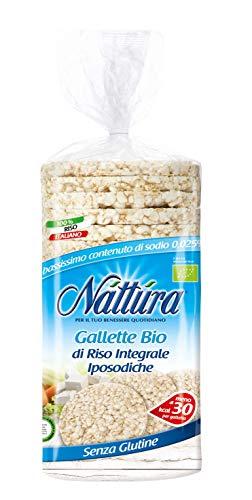 Nattura Gallette di Riso Integrale Iposodiche Tonde Biologiche Senza Glutine Fonte di Fibre - 1 x 130 Grammi