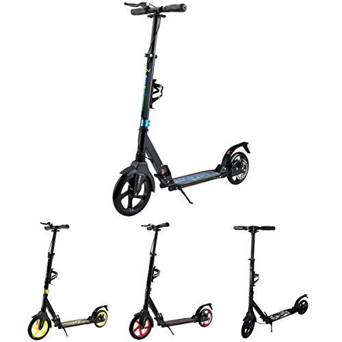 Tretroller Erwachsene. City Roller für Jungs und Mädchen. Roller mit Federung und Bremse. Cityroller kinder ab 7 jahre aus Aluminium. Flaschenhalter, 2 x Stoßdämpfer und Scheibenbremse. (Schwarz-Blau)