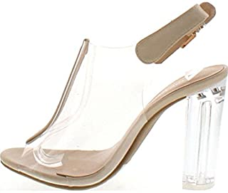 Best Fenton 1 Womens Clear Chunky Heel Peep Toe Lucite Sandals Review