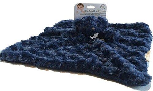 Blankets and Beyond Navy Rosette Bear Nunu Baby Security Blanket (Dark Navy ) by Blankets and Beyond