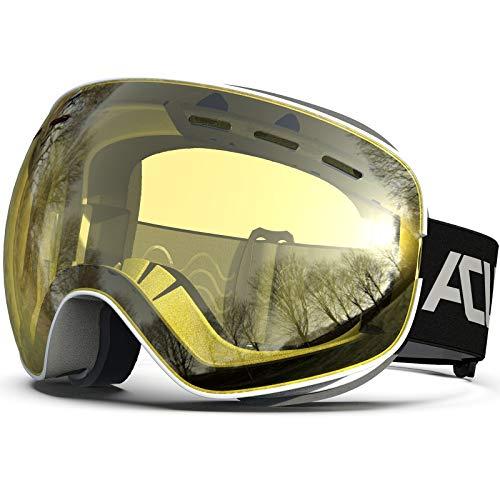 スノーボード ゴーグル スキー ゴーグル OTG(メガネ対応)フレームレススノーゴーグル、防曇加工 ダブルレンズ 、ジュニア向き、男女兼用 UV400保護 紫外線100%カット (黄(VLT 83%), アダルト)