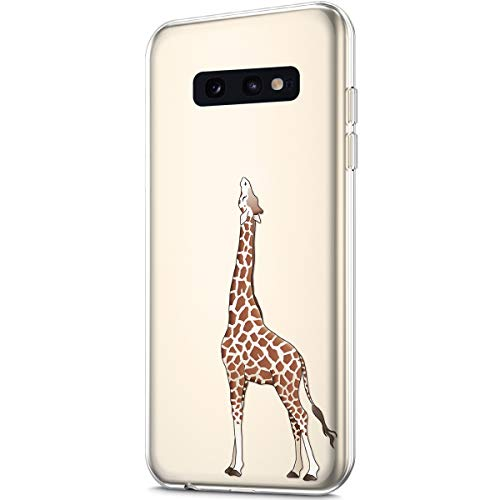 ikasus Case for Galaxy S10e,Crystal Clear Art Panited Pattern Design Soft & Flexible TPU Ultra-Thin Transparent Flexible Soft Rubber Gel TPU Protective Case Cover for Galaxy S10e Silicone Case,Giraffe