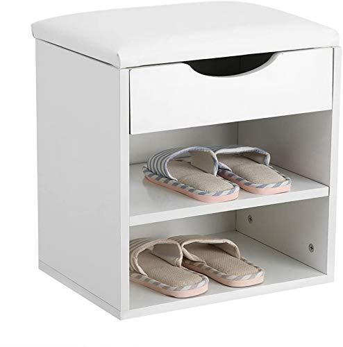 ZCYY Shoes Shlef, Asiento Organizador de Zapatos con 2 estantes de Almacenamiento y 1 cajón para Entrada, Blanco, Pasillo