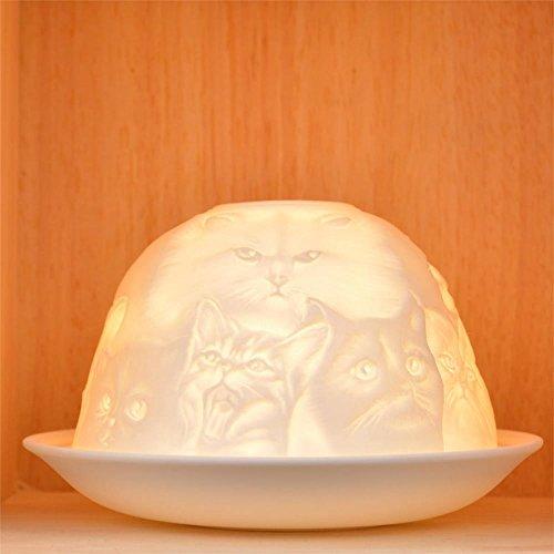 Nordic Light Photophore pour bougie chauffe-plat, abat-jour et assiette, motif chat, table de salle à manger, accessoires de décoration d'intérieur, en porcelaine, taille unique, blanc