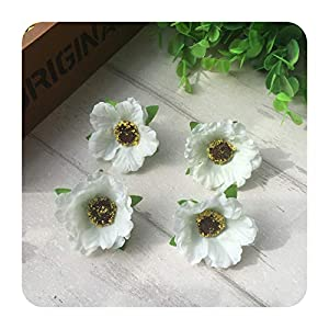 100pcs/lot 4Cm Mini Silk Cherry Blossoms Small Artificial Rose Flowers Heads Poppy Wreath Wedding Decoration For Scrapbooking-Milk white