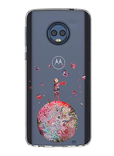 Alsoar Compatible pour Coque Motorola Moto G6 Play Étui Liquid Crystal Ultra Mince Transparent TPU Silicone Housse Protection Bumper Souple Mignon Modèle Anti-Rayures Case (Petit Prince)
