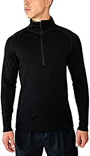 WoolX Men's Merino Wool Zip Top - Moisture Wicking Heavyweight Base Layer -X704