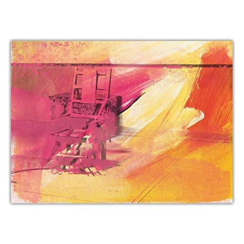 Nbqwdd Citon Andy Warhol, Silla Eléctrica, Arte Pop, Lienzo, Pintura Al Óleo, Póster Artístico, Imagen Impresa Decorativa, Decoración De Pared, Decoración del Hogar, 60X90Cmx1 Sin Marco
