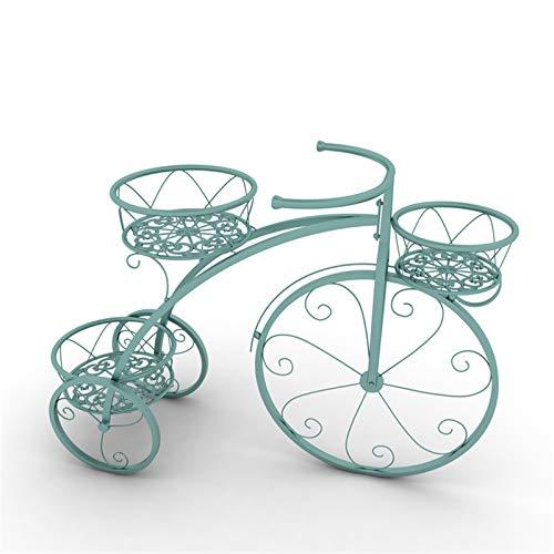 Soporte Creativo Para Plantas De Bicicletas, Estante De Hierro Para Flores Metal Soportes Para Exhibición Organizador Macetas con 4 para cesta, Jardín Decoración De Interiores Y Exteriores,Verde