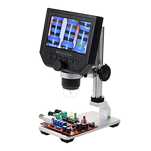 600X Vergrößerung Vergrößerungsglas, 8 s Einstellbare Helligkeit Digital elektronisches Mikroskop mit 4,3-Zoll-LCD-Display 3.6MP, for Handy-Industrie QC Inspektion mit TYTTUU
