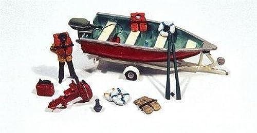soporte minorista mayorista HO Scale Deluxe Boat, Motor & Trailer Trailer Trailer w Marine Accessories by JL Innovative Design  sorteos de estadio