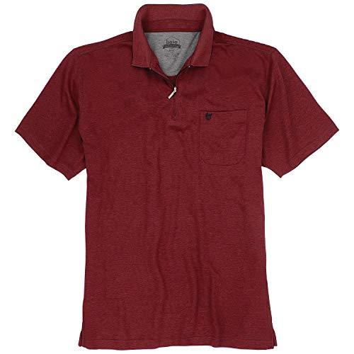hajo Poloshirt Halbarm Zipper mit Brusttasche dunkelrot Größe 50