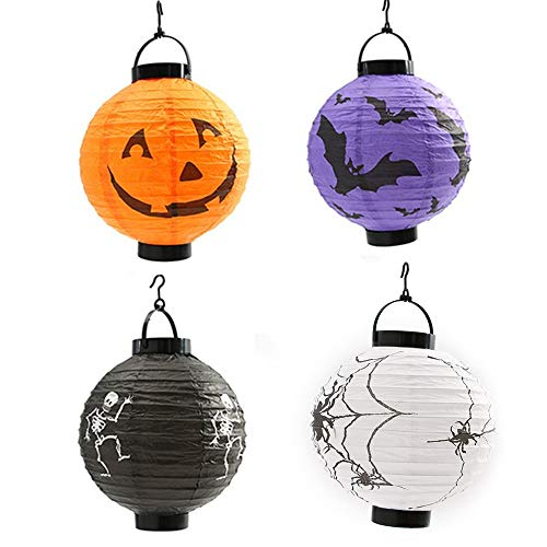 BJ-SHOP Halloween lantaarn, LED papieren lantaarn, 4 pak pompoen spinnen rackets skelet lampen lantaarns