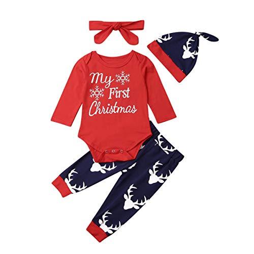Geagodelia 3-teiliges Kleidungsset für Neugeborene, Baby, Jungen, süßer Strampler, langärmlig, bedruckter Buchstabe + Hose + Hut Gr. 6-12 Monate, Weihnachtsset.
