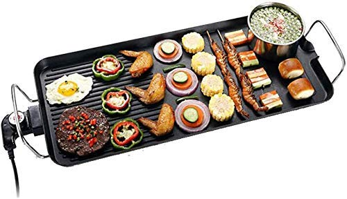 Non-Stick Electric Indoor Electric Smokeless Teppanyaki Tafel, 2 kookzones met 5 niveaus instelbare temperatuur, Oversized Koken Surface 24X40cm for Indoor Outdoor ZHW345