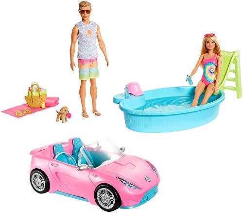 Barbie GJB71 - zestaw prezentowy Barbie z kabrioletem, basenem, lalką Barbie i lalką Ken-strój kąpielowy