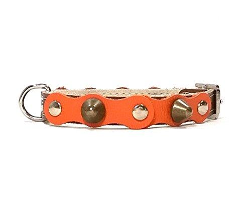 Superpipapo Hunde-Halsband, Braun Orange Leder Handmade Design mit Nieten, Robuste Ausgefallene Qualität für Welpen, Chihuahuas und Kleine Hunde, 30 cm XXS: Halsumfang 20-25 cm, Breit 13mm