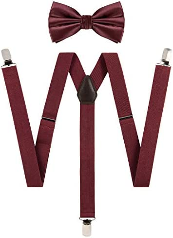 TIE G Solid Color Men s Suspender Woven Bow Tie Set for Wedding Vivid Color Adjustable Brace product image