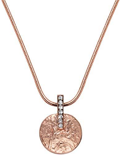 Perlkönig Kette Halskette | Damen Frauen | Rosegold Farben | Kreis förmige Münze | Glitzer Steine | Nickelabgabefrei