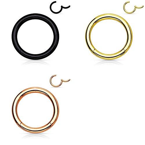 Trend Agent Segment CLICKER Piercing 3er Set SEGMENTRING für Septum, Tragus, Nase, Ohr, LIPPE, Helix - Edelstahl Klicker-Ring Klapp-Verschluß | 1.2 x 8 mm | Gold | Rosé | Schwarz |