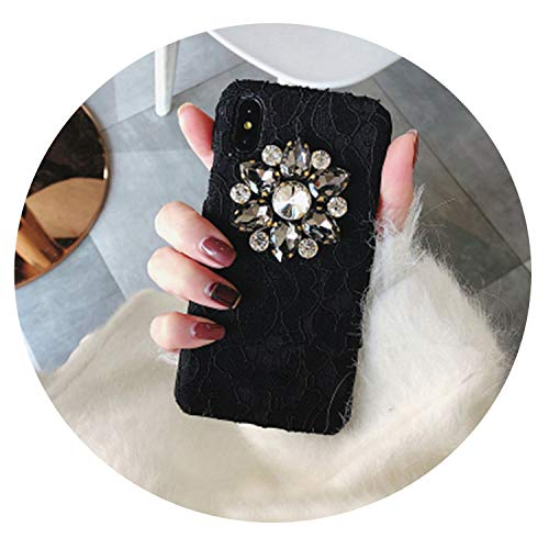 Great Creativity of Rhinestone XS MAX XR 6s Phone case for iPhone 7 Plus 8 X Shell Tide Female Models,Black,for iPhone 6 6s