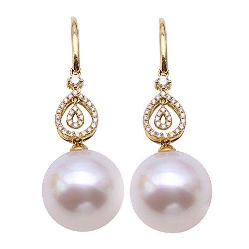 JYX Luxuriöse Perlen-Ohrringe, 15 mm, weiße Südseeperle, Ohrringe in 18 Karat Gold und Diamant