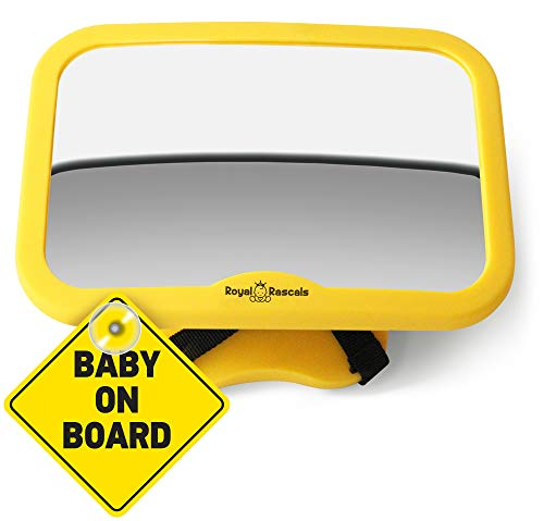 ROYAL RASCALS Baby Car Mirror for Back Seat – Safest Yellow Frame - Shatterproof Baby Mirror for Car - Rear View Baby Car Seat Mirror to See Rear Facing Infants and Babies